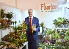 "Frank de Greef of Fleurizon presenting Indoor Plant Combos. This is a new line of indoor plant combinations. ""It has multiple plants per pot so these root very quickly for quick and easy turn-around."""