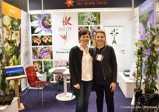Marie-Laure Rauline of Javoy Plants and Cecile Duval of Les pépinières de France. Javoy is presenting their three new clematis varieties; Clematis Christmas Surprise - an evergreen that is flowering for Christmas, Clematis Sugar Sweet - flowering in spring and has a scent close to rubenia, and Burning Love, a deep red colored one that also well adapts to the climate of Southern Europe.