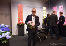 Jaap Stelder of HBA holding one of the popular varieties; a variety that is re-blooming. According to Stelder, there is a large demand for hydrangeas with these characteristics.
