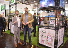 Antonio Menezes of Chrysal and Marcus Birkel of Braun, a distributor of Chrysal presenting their compostable food sachets that they introduced last year (2019).
