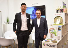 Okan Tüsüz and Markus Fleschmann of Becker Etiketten, a German label supplier. At the booth, they are presenting how they use recycled products. They changed PP and PS Material to recycled  PP (RE-PP) and recycled PS. Besides, they also showed NPL (Non-Plastic Solutions) labels.