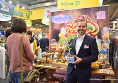 Stephan Roth of Volmary presenting Candy bar, a new concept that they present as a candy show. The concept consists of sweet and healthy vegetables. The concept has been introduced this year.
