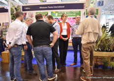 Ed Marley of Whetman Plants International talking with visitors.