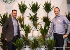 Corné van Winden and Richard Visser of ForEver Plants presenting their Carnevaltoef. The concept shows three different tropical plants in one pot and is available in different pot sizes.