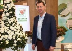 Alex Croock with his Azalea aiko Pirmide. Alex grows azaleas in Lochristi, Belgium. The flowering plants is this pyramid he grew himself.